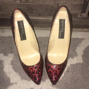 Women's black and red pumps